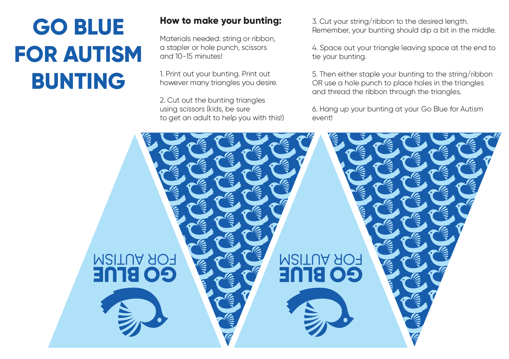 Go Blue for Autism Bunting Template
