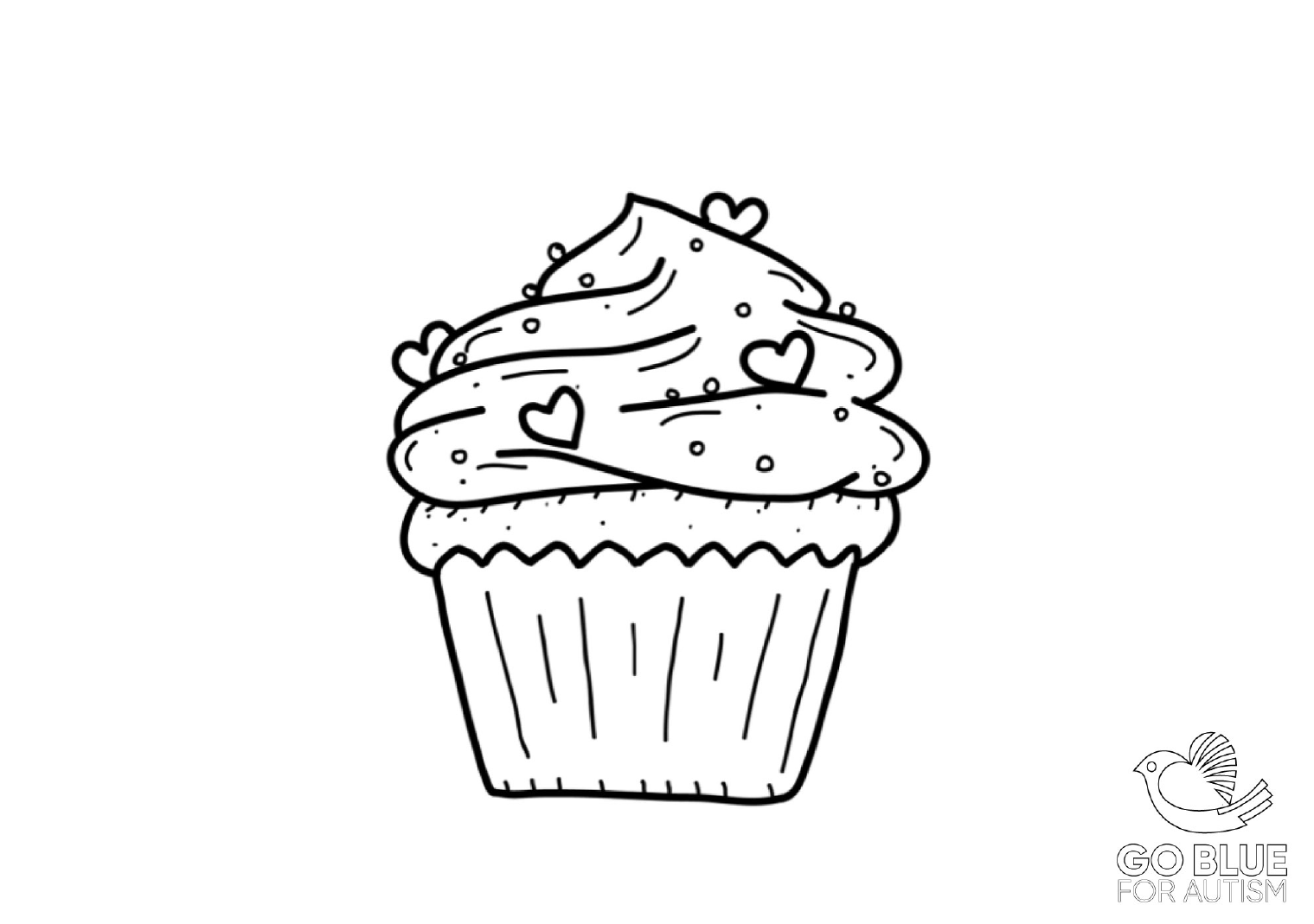 Go Blue For Autism Colouring In Page Cupcake